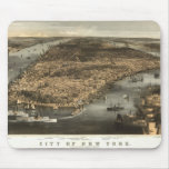 1856 New York City NY Birds Eye View by Currier Mouse Pad
