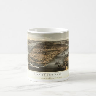 1856 New York City NY Birds Eye View by Currier Coffee Mugs