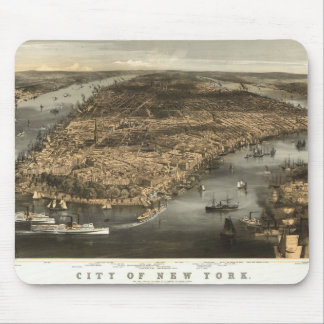 1856 New York City NY Birds Eye View by Mouse Pad