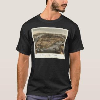 1856 New York City NY Birds Eye View by T-Shirt