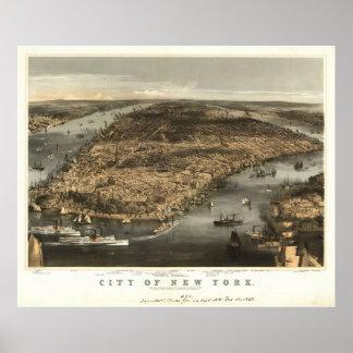 1856 New York City NY Birds Eye View Panoramic Map Poster