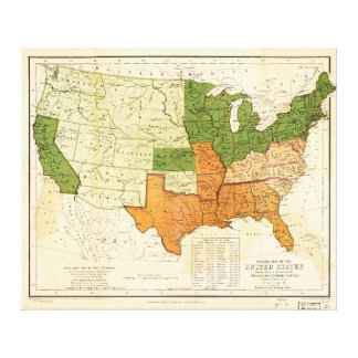 1857 American Free and Slave Holding States Map Canvas Print