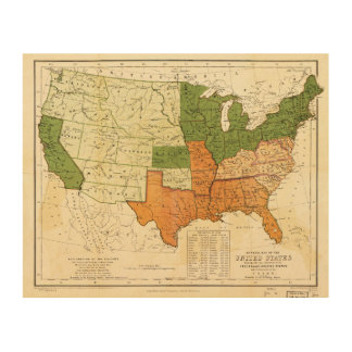 1857 American Free and Slave Holding States Map Wood Wall Art