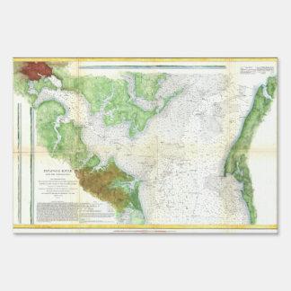 1857 Coast Survey Map or Chart of Patapsco RIver Sign