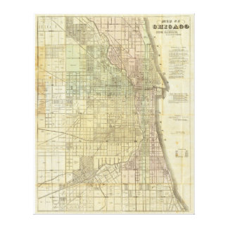 1857 Map of Chicago Illinois Canvas Print