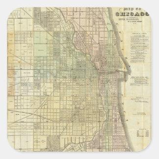 1857 Map of Chicago Illinois Sticker