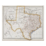 1857 Texas Map Poster