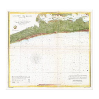 1857 U.S. Coast Survey Map Mississippi City Harbor Canvas Print