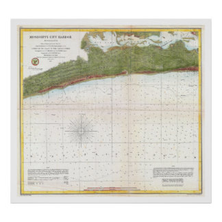 1857 U.S. Coast Survey Map Mississippi City Harbor Poster