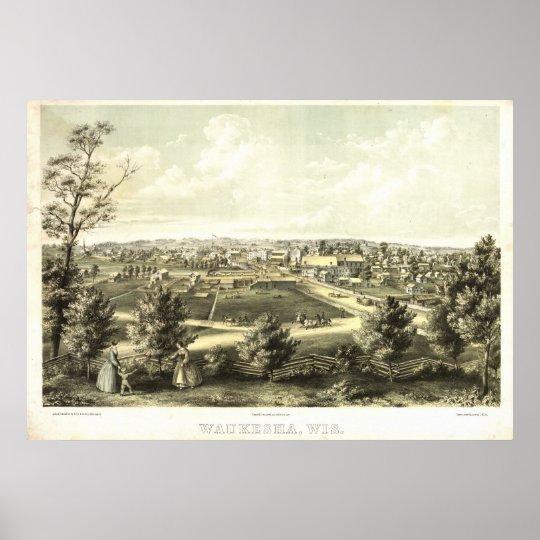 1857 Waukesha, WI Birds Eye View Panoramic Map Poster