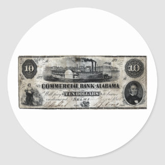 1858 Alabama Ten Dollar Note Classic Round Sticker