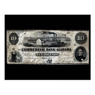 1858 Alabama Ten Dollar Note Postcard