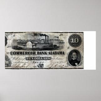 1858 Alabama Ten Dollar Note Poster