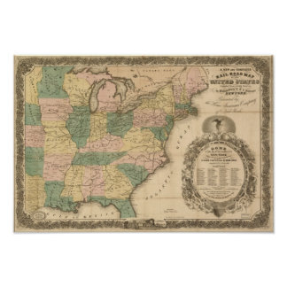 1858 Antique Rail Map of the United States Poster