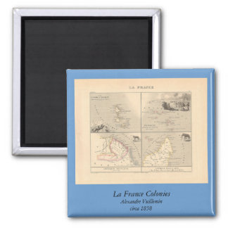 1858 colonias de Francia del La del mapa, mapa Imán Cuadrado