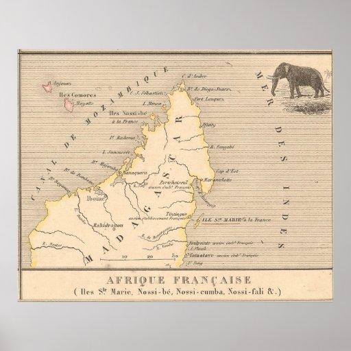 1858 Map Afrique Francaise: Iles Ste Marie, France Poster