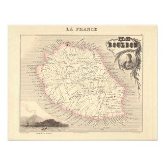 1858 Map - Ile Bourbon La Reunion - France Custom Announcement