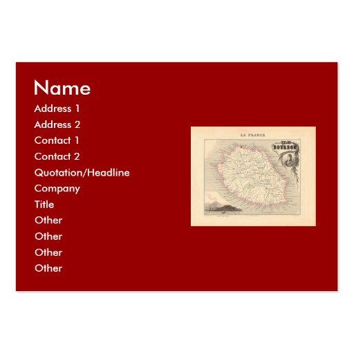 1858 Map - Ile Bourbon (La Reunion) - France Large Business Card