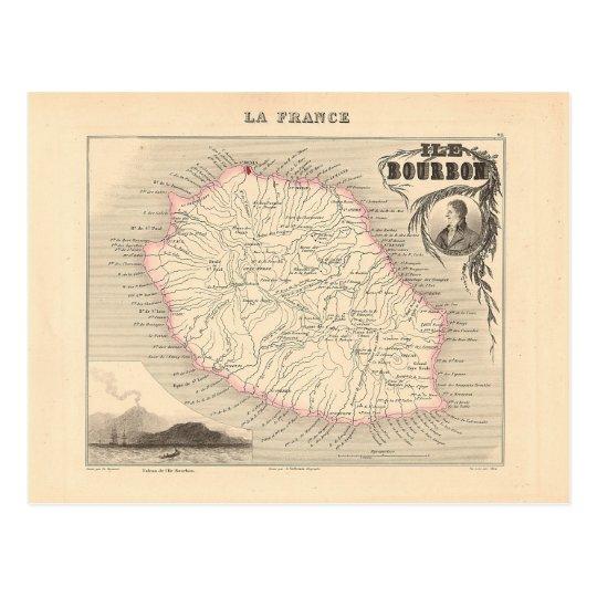 1858 Map - Ile Bourbon (La Reunion) - France Postcard
