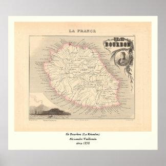 1858 Map - Ile Bourbon (La Reunion) - France Poster