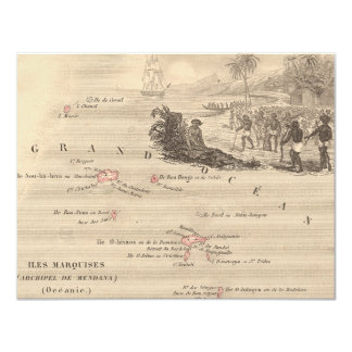 1858 Map Iles Marquises, France (Marquesas Island) 4.25x5.5 Paper Invitation Card