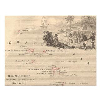 1858 Map Iles Marquises France Marquesas Island Personalized Invite