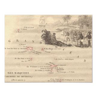"1858 Map Iles Marquises, France (Marquesas Island) 4.25"" X 5.5"" Invitation Card"