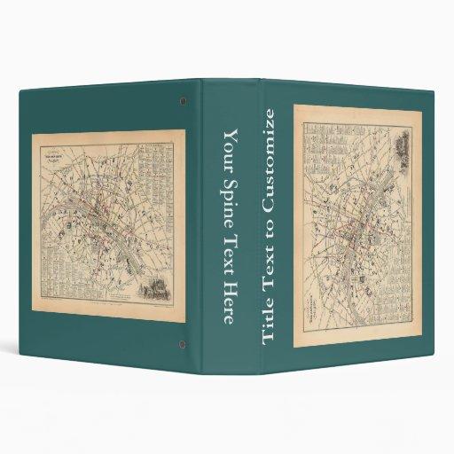 1858 Map: Itineraire des Omnibus dans Paris France Binder