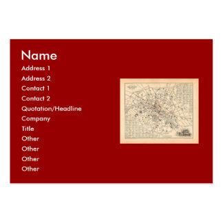 1858 Map Itineraire des Omnibus dans Paris France Business Card Templates