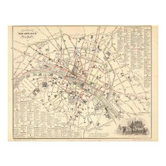 1858 Map: Itineraire des Omnibus dans Paris France Flyer