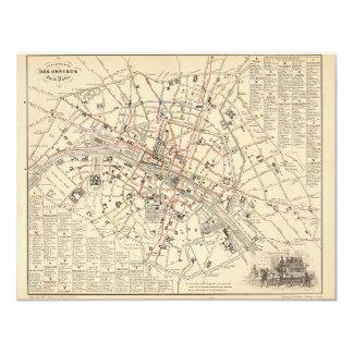"""1858 Map: Itineraire des Omnibus dans Paris France 4.25"""" X 5.5"""" Invitation Card"""