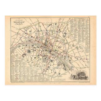 1858 Map: Itineraire des Omnibus dans Paris France Postcard