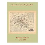 1858 Map: Itineraire des Omnibus dans Paris France Post Card