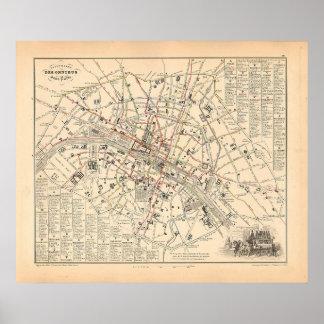 1858 Map: Itineraire des Omnibus dans Paris France Poster
