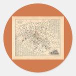1858 Map: Itineraire des Omnibus dans Paris France Stickers