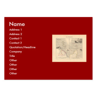 1858 Map La France Colonies French Colonial Map Business Card Template