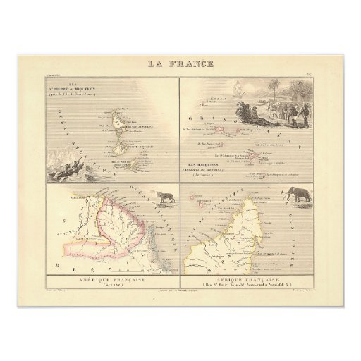 1858 Map La France Colonies, French Colonial Map Card