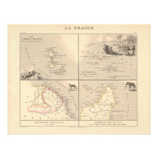 1858 Map La France Colonies, French Colonial Map Flyer