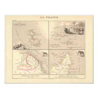 """1858 Map La France Colonies, French Colonial Map 4.25"""" X 5.5"""" Invitation Card"""