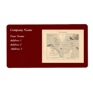1858 Map La France Colonies, French Colonial Map Label