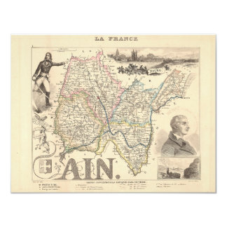 """1858 Map of Ain Department, France 4.25"""" X 5.5"""" Invitation Card"""