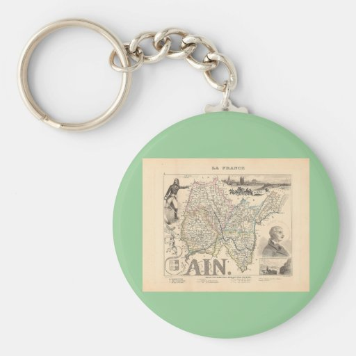 1858 Map of Ain Department, France Keychain