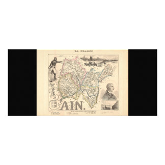 1858 Map of Ain Department, France Rack Card