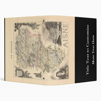 1858 Map of Aisne Department, France 3 Ring Binder