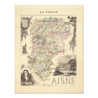 """1858 Map of Aisne Department, France 4.25"""" X 5.5"""" Invitation Card"""