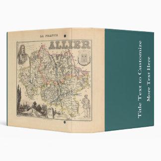 1858 Map of Allier Department, France Binder