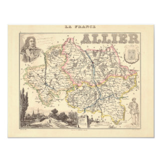 1858 Map of Allier Department, France Custom Invitation