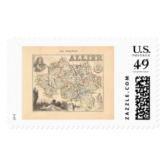 1858 Map of Allier Department, France Postage Stamp