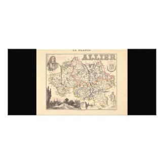 1858 Map of Allier Department, France Full Color Rack Card