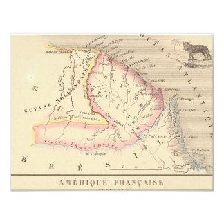 "1858 Map of Amerique Francaise (Guyane), Guyana 4.25"" X 5.5"" Invitation Card"